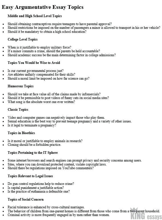 Best argument essay topics