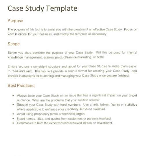 how to write a scientific case study