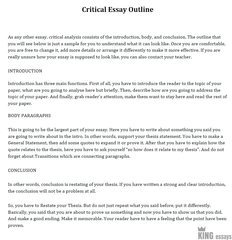 Critical essay samples
