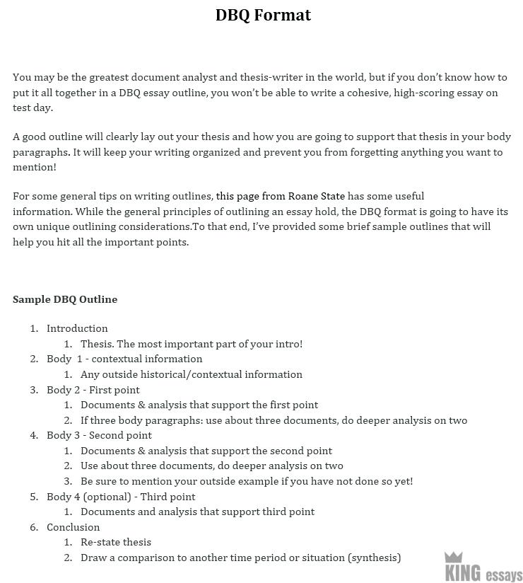 Example of a dbq essay