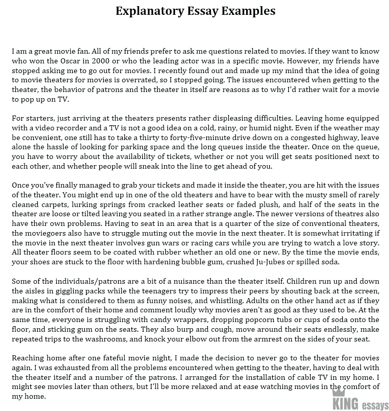 Example of an exploratory essay