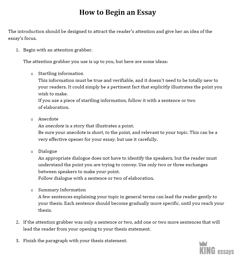 Science And Technology Essay Topics  English Literature Essays also Should The Government Provide Health Care Essay How To Start An Essay  A Step By Step Guide By Kingessays Research Proposal Essay Topics