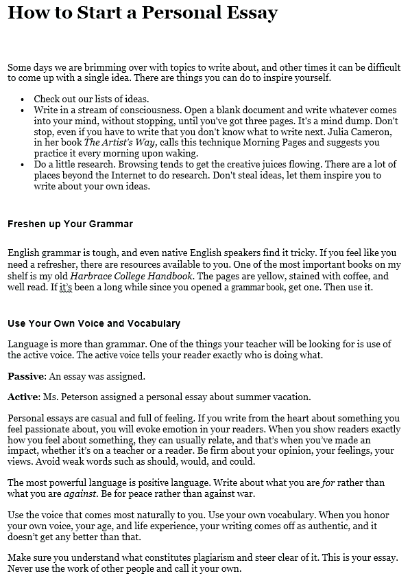 How To Write A Personal Essay Stepbystep Guide At Kingessays View Sample