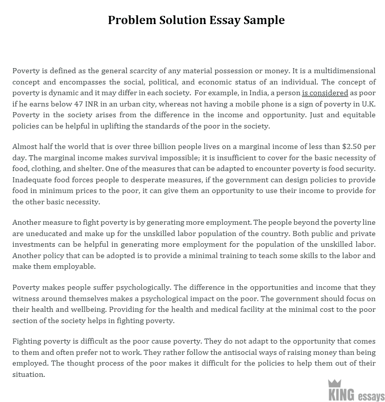 Problem solution essay samples