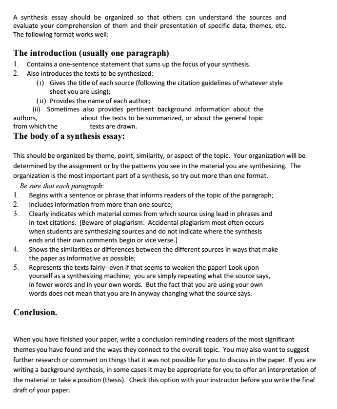 Synthesis essay thesis